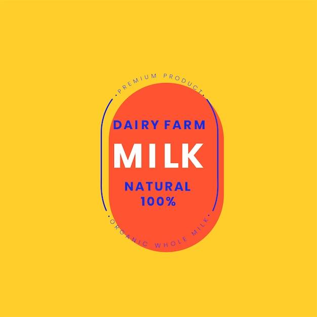 Design de distintivo de logotipo de leite fazenda leiteira Vetor grátis