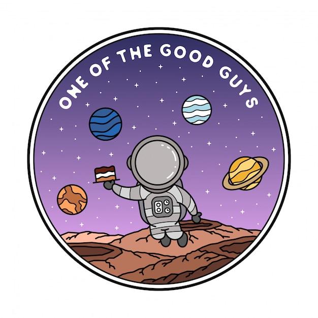Design de distintivo de monoline de astronauta Vetor Premium