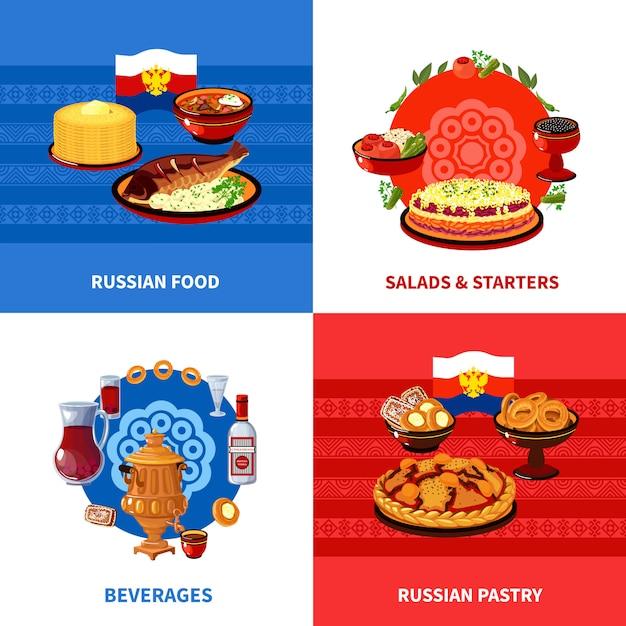 Design de elementos de comida russa Vetor Premium