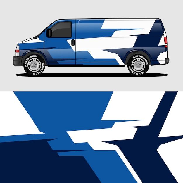 Design de embalagem de van azul envolvendo etiqueta e decalque design Vetor Premium