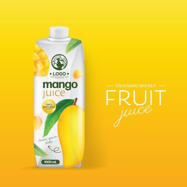 Design de embalagem suco de manga Vetor Premium