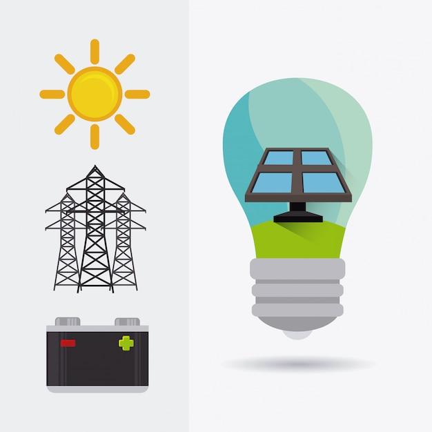 Design de energia verde. Vetor Premium