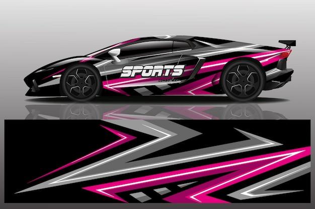 Design de envoltório de carro esporte Vetor Premium