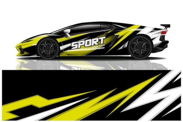 Design de envoltório de decalque de carro esporte Vetor Premium