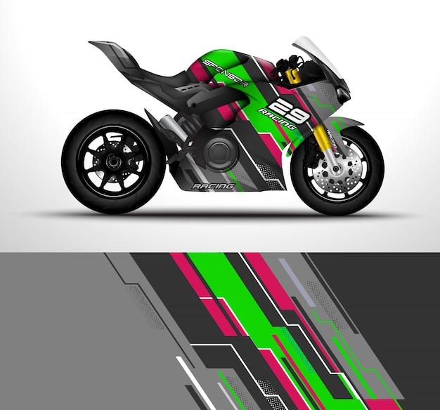 Design de envoltório de motocicleta Vetor Premium
