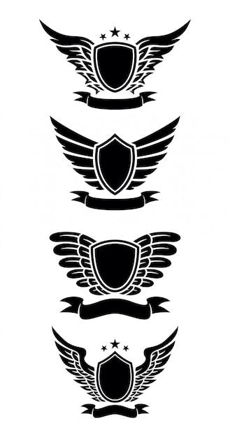 Design de escudo com fita Vetor Premium