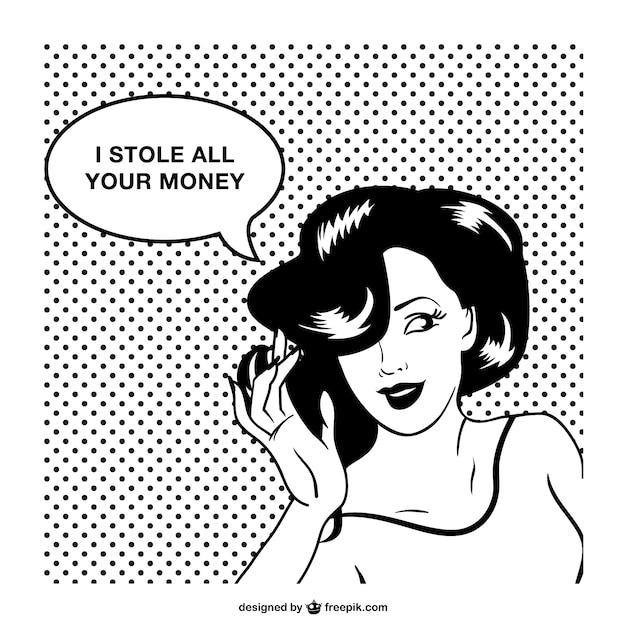 Design de estilo comics mulher retro Vetor grátis