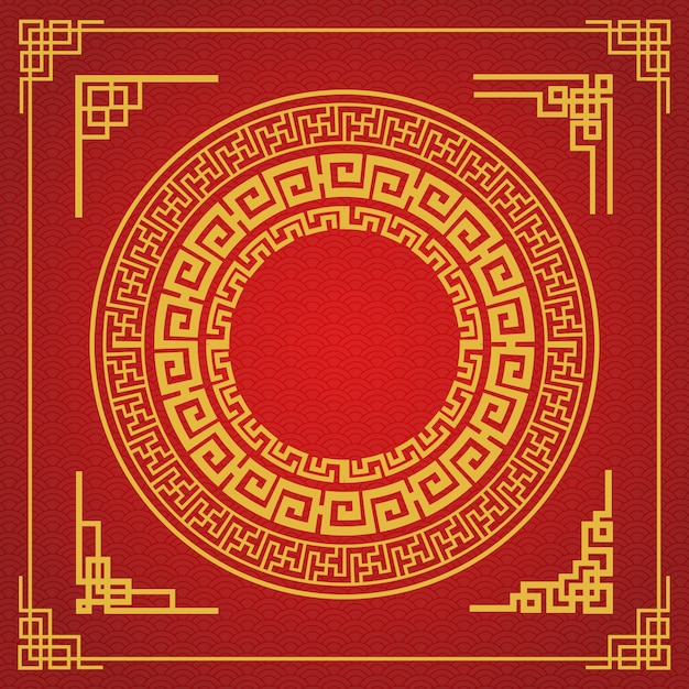 Design de estilo de moldura chinesa em fundo vermelho Vetor Premium