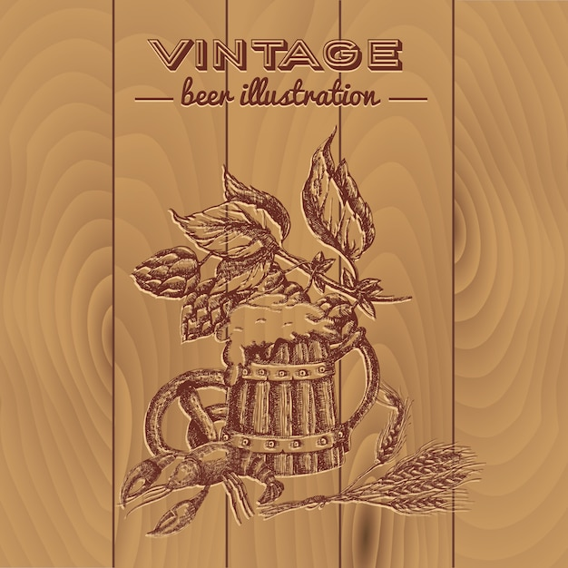Design de estilo vintage de cerveja Vetor Premium