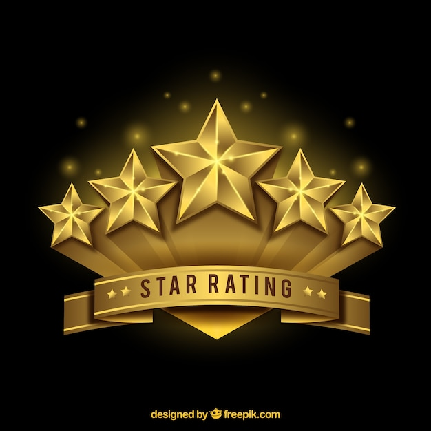 Design de estrelas dourado realista Vetor grátis