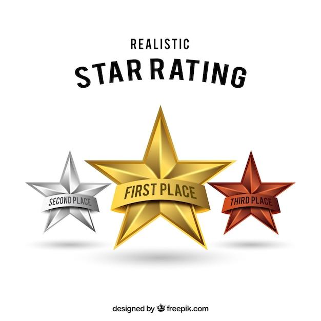 Design de estrelas estrelas realista Vetor grátis