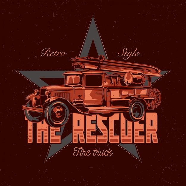 Design de etiqueta de t-shirt com ilustração de carro de bombeiros vintage. Vetor grátis
