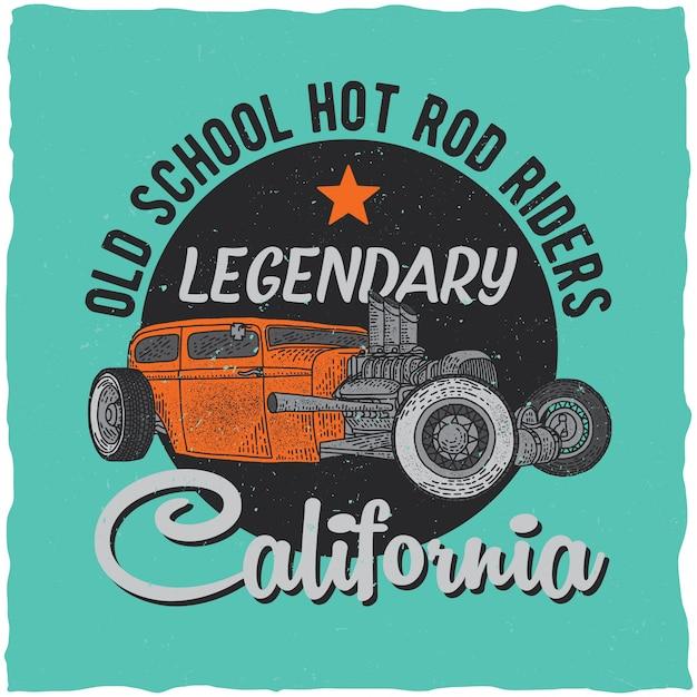Design de etiqueta de t-shirt vintage hot rod com ilustração de carro de velocidade personalizado. Vetor grátis