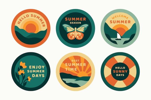 Design de etiquetas de verão design plano Vetor grátis