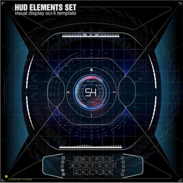 Design de exibição de cabeça de vr futurista. capacete de ficção científica hud. design de exibição de tecnologia futura. Vetor Premium