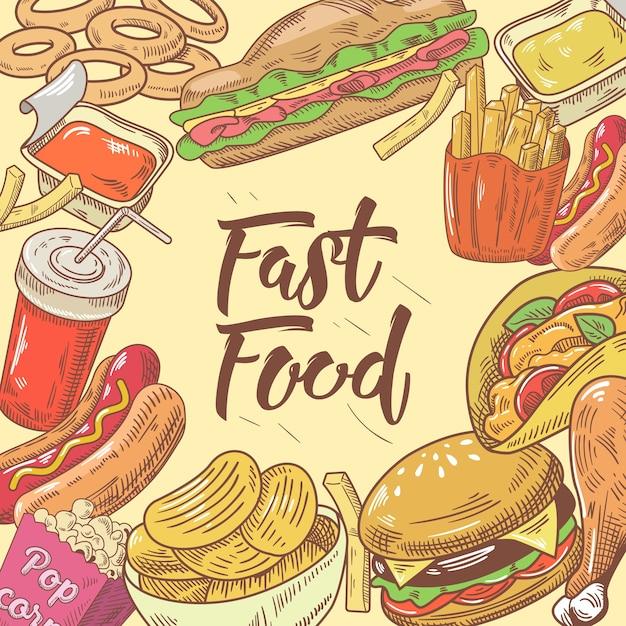 Design de fast food desenhado à mão com hambúrguer Vetor Premium
