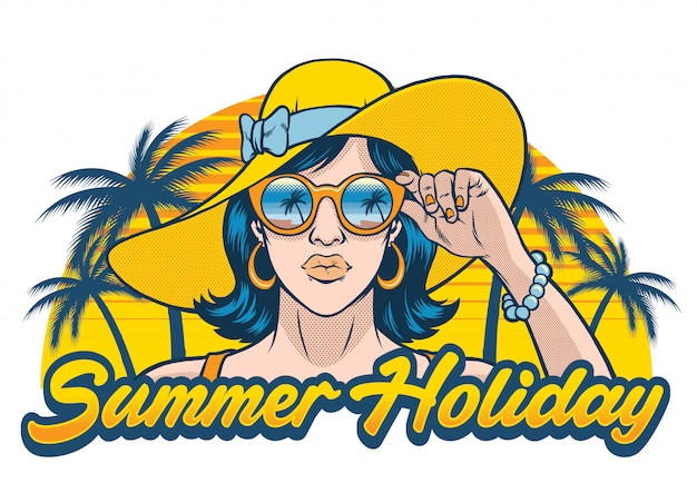 Design de férias de verão com garota usando óculos escuros Vetor Premium