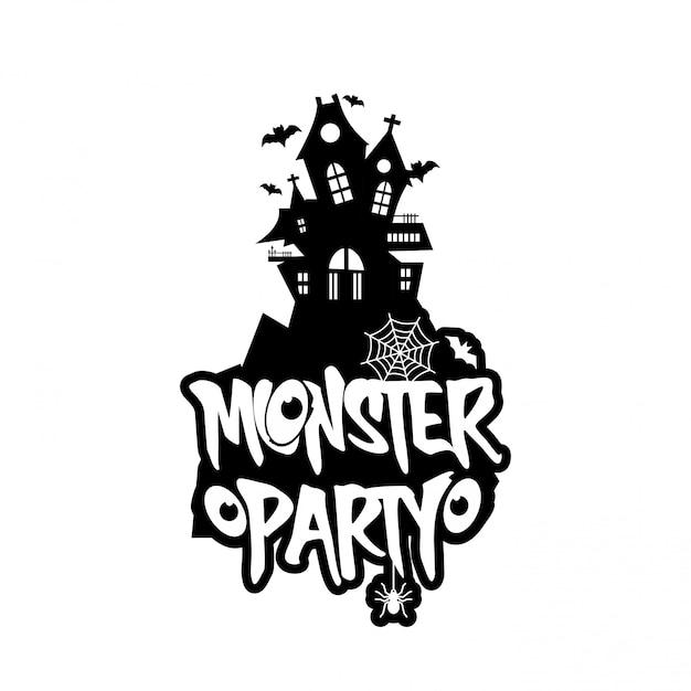 Design de festa de monstro com design criativo vector Vetor grátis
