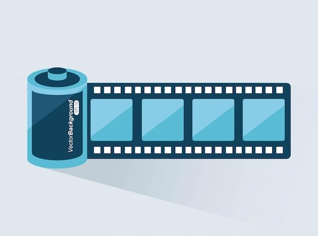 Design de filme sobre ilustração vetorial de fundo cinza Vetor Premium