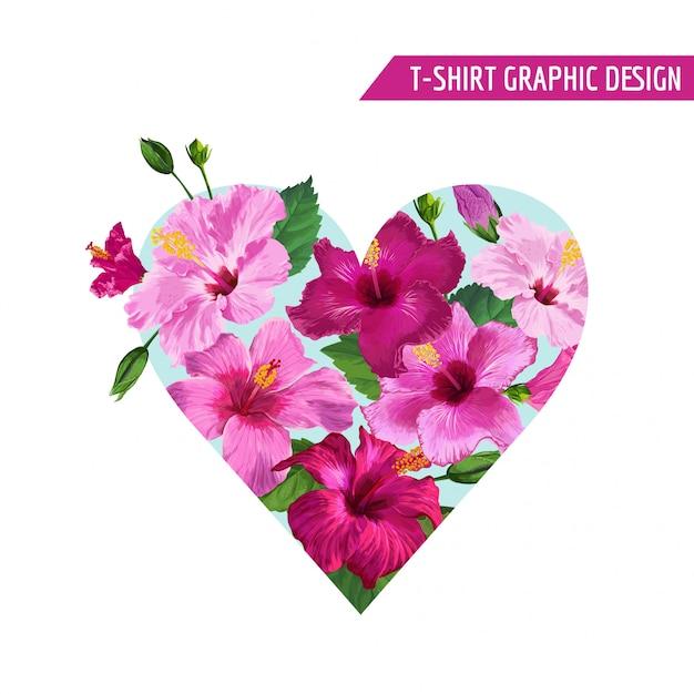 Design de flores tropicais de coração floral de verão Vetor Premium