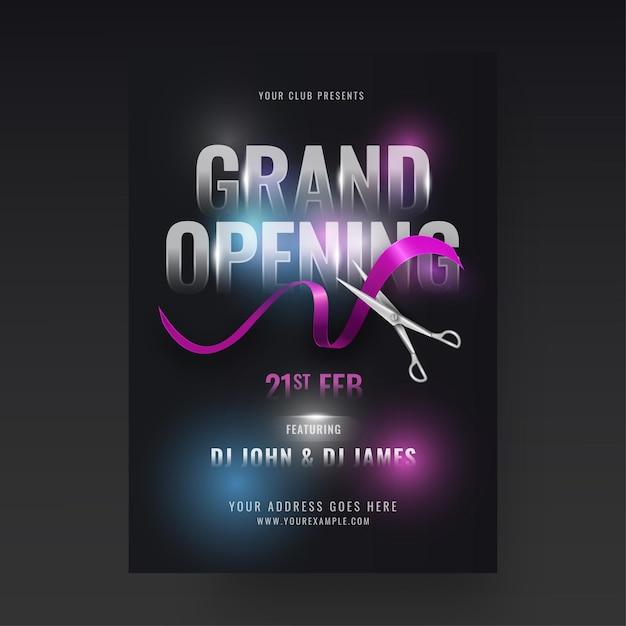 Design de folheto da festa de inauguração com tesoura cortando fita Vetor Premium
