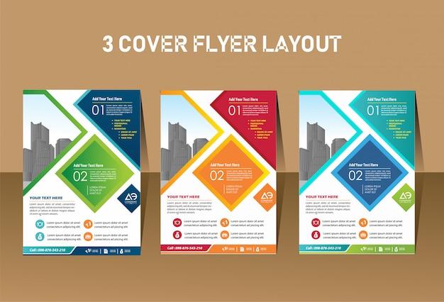 Design de folheto de layout de capa para evento de empresa e relatório Vetor Premium
