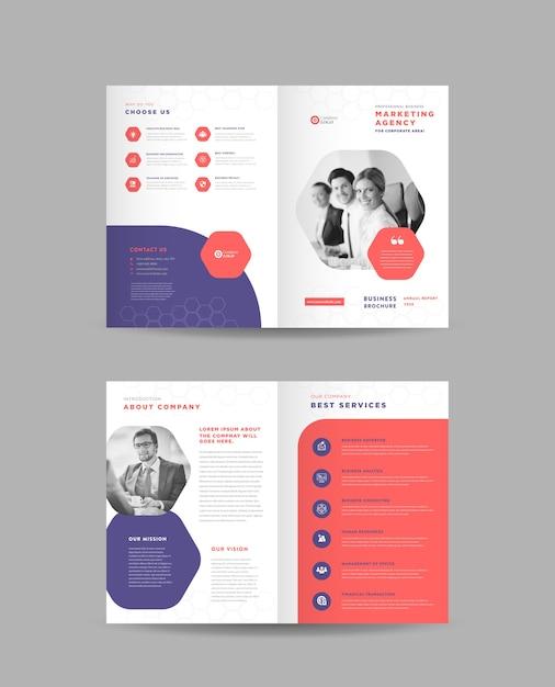 Design de folheto de negócios corporativos bifold, design de folheto de perfil da empresa Vetor Premium