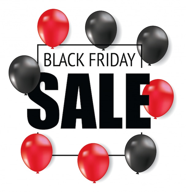 Design de folheto de sexta-feira negra com balão Vetor Premium