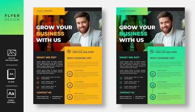 Design de folheto empresarial moderno gradiente amarelo e verde Vetor Premium