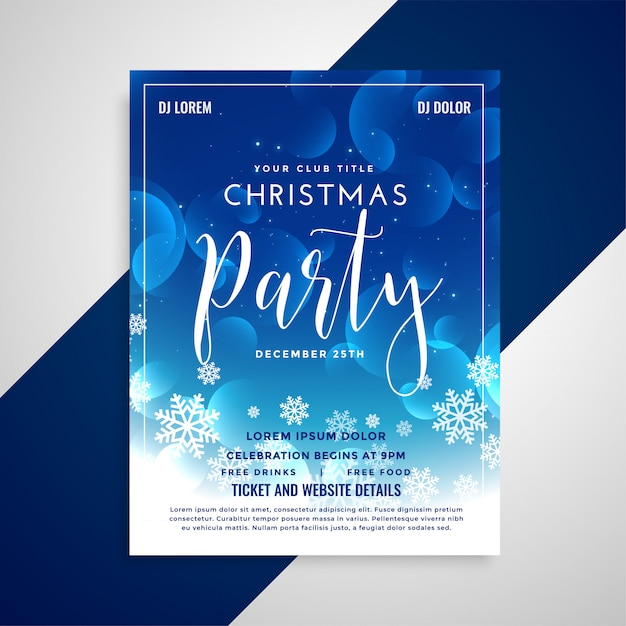 Design de folheto lindo natal azul brilhante com flocos de neve Vetor grátis