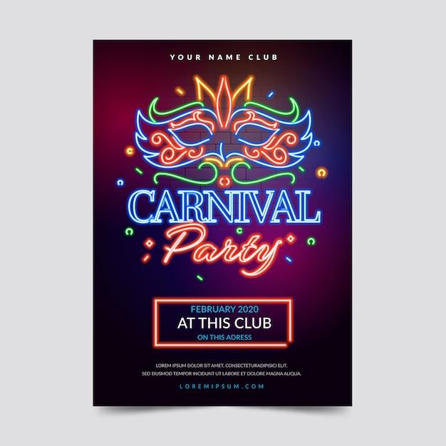 Design de folheto ou cartaz de festa de carnaval de néon Vetor grátis