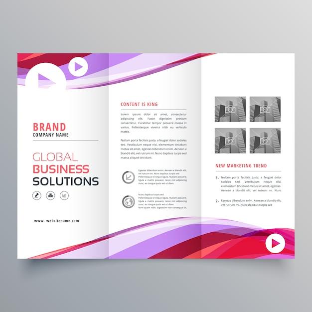 Design de folheto triplo de negócios com forma de onda colorida Vetor grátis