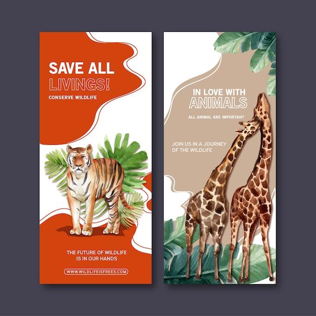 Design de folheto zoo com tigre, ilustração em aquarela girafa. Vetor grátis