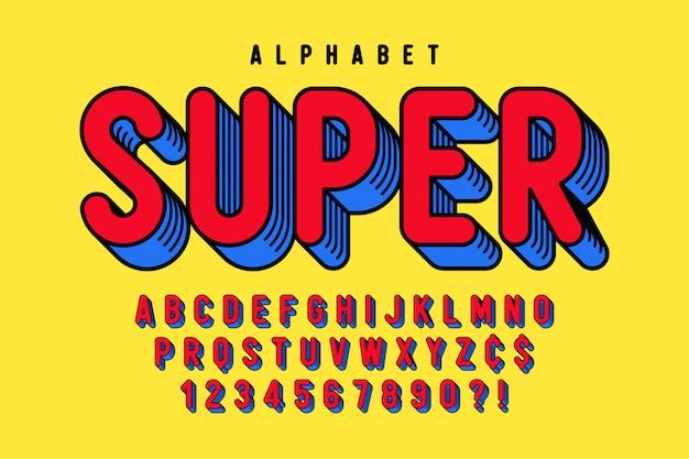 Design de fonte cômica na moda 3d, alfabeto colorido Vetor Premium