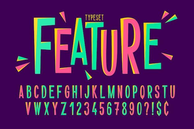 Design de fonte condensada cômica na moda Vetor Premium