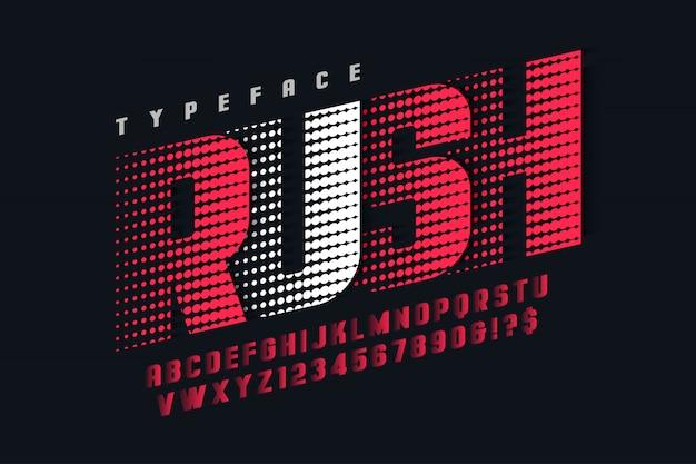 Design de fonte de exibição de corrida, alfabeto, letras e números Vetor Premium