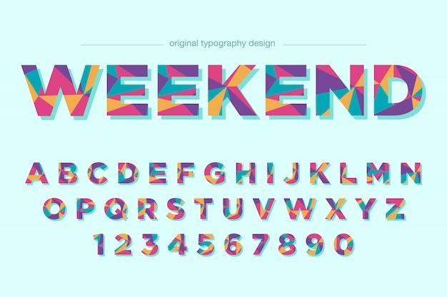 Design de fonte de tipografia poli baixo colorido Vetor Premium