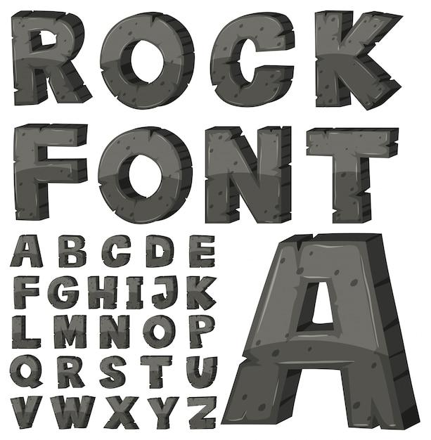 Design de fontes para alfabetos ingleses com bloco de pedra Vetor grátis