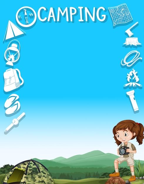 Design de fronteira com menina e ferramentas de campismo Vetor grátis
