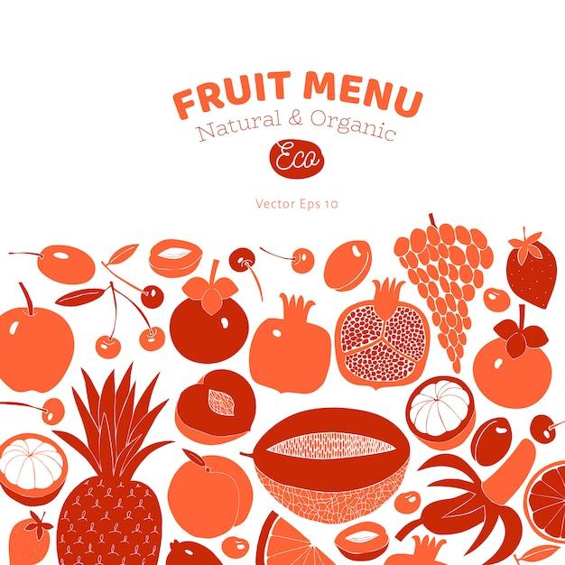 Design de fruta desenhada mão escandinavo. ilustrações vetoriais. estilo linogravura. comida saudável. Vetor Premium