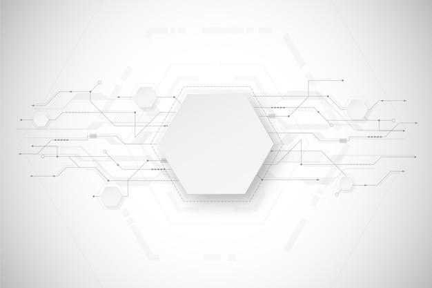 Design de fundo branco tecnologia Vetor grátis