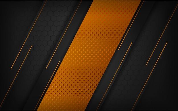 Design de fundo de luxo combinações preto e ouro. Vetor Premium