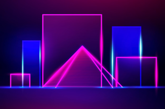 Design de fundo de luzes de néon de formas geométricas Vetor grátis