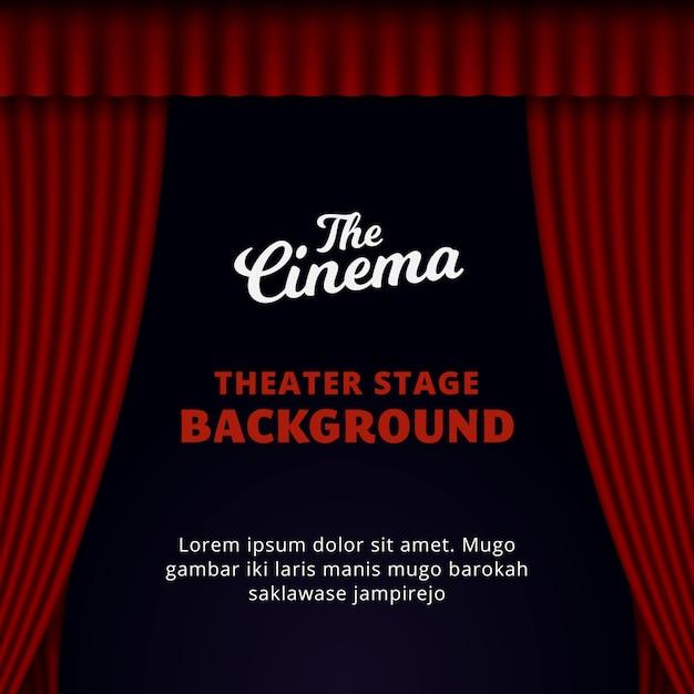 Design de fundo de palco de teatro. ilustração vetorial de cortina vermelha aberta. Vetor Premium