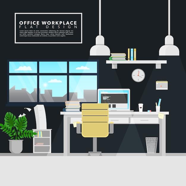 Design de fundo do local de trabalho Vetor Premium