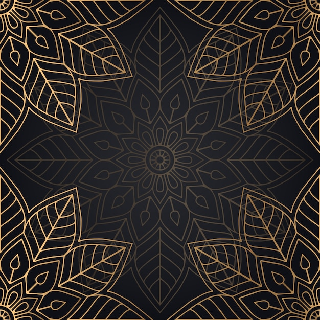 Design de fundo mandala sem costura padrão na cor preta e dourada Vetor grátis