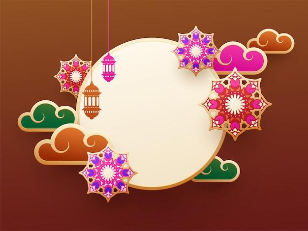 Design de fundo marrom decorado com elementos islâmicos Vetor Premium