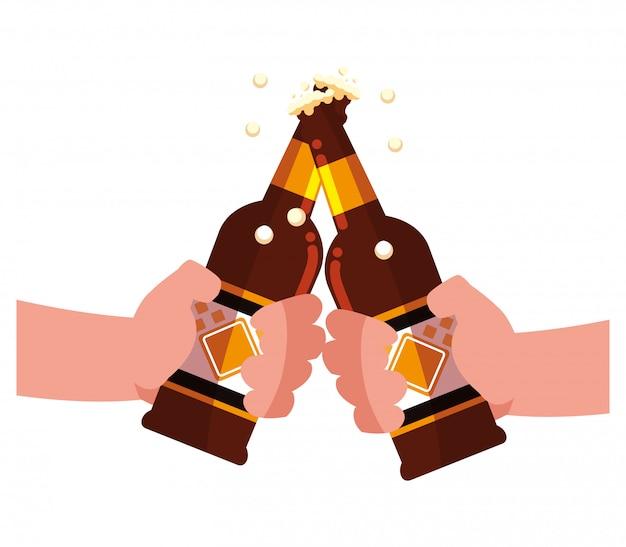 Design de garrafa de cerveja Vetor Premium
