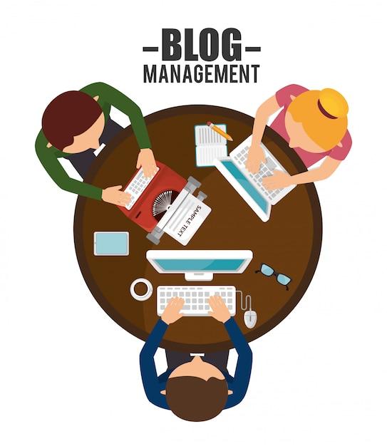 Design de gerenciamento de blog Vetor Premium
