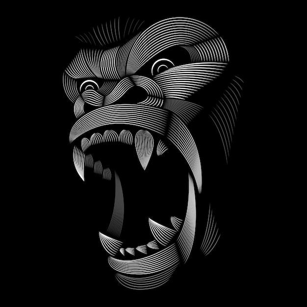 Design de gorila. estilo linogravura. preto e branco. ilustração de linha. Vetor Premium